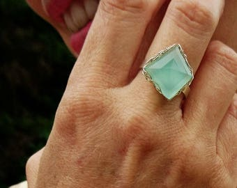 Green chalcedony with water ring adjustable unique.