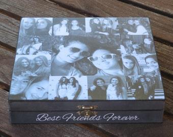 Best Friends Gift, demoiselle d'honneur Unique cadeau, cadeau de soeur, personnalisé souvenir boîte, Collage de Photo personnalisé, cadeau de naissance Unique, l'obtention du diplôme