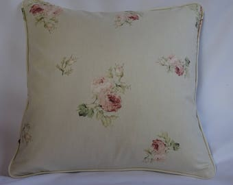Vintage, shabby chic roses floral cushion cover.