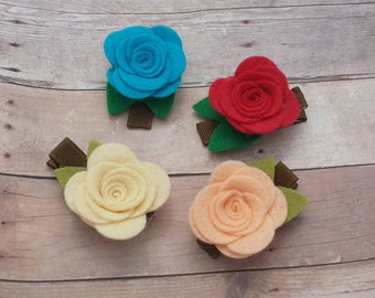 CHOOSE ANY TWO / 40+ Colors - Felt Rose Flower Hair Clip Set / Felt Flower Clip Set / Felt Rose Clip / Felt Flower Clip / Flower Clip Set