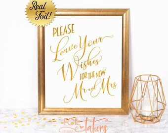 Please Leave Your Wishes for the New Mr and Mrs Wedding Sign, Real Gold Foil, Guestbook