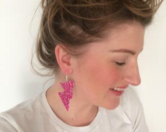 So Macho - Bright Pink Lightning Bolt Earrings