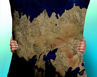 Game of Thrones Map Essos Blue - Cushion / Pillow Cover / Panel / Fabric