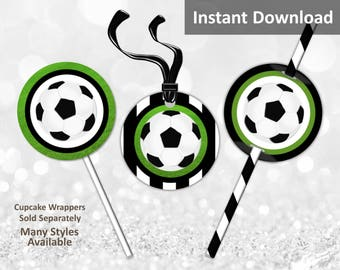 Soccer Cupcake Toppers, Favor Tags, Straw Flags, Football Toppers, Instant Download, Green, Black, White, Party Decorations