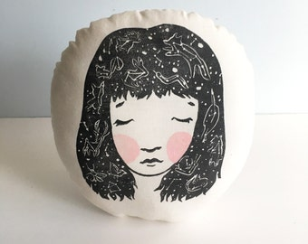 Constellation Hair. Round Pillow. Hand Woodblock Printed. 12 inches. Ready to Ship.