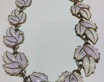 Vintage Silver Toned Lavender Leaf Necklace