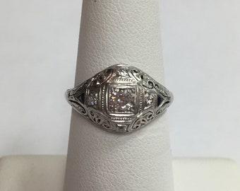 Antique Platinum Diamond and Sapphire Filigree Estate Ring