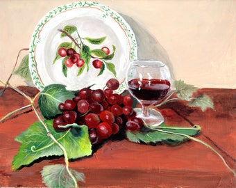 Framed Still life of pretty plate, grapes and a glass of wine 8 x 10