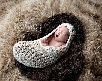 Chunky Hooded Cocoon Newborn Cream