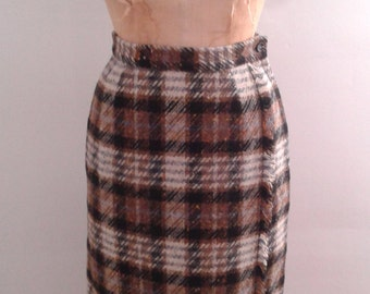 Vintage 1960's Lampl Brown Black Plaid Wool Tweed Pencil Skirt Sz Small Mod Ladylike