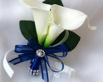 Wedding Natural Touch Ivory Calla Lily Midnight Navy Blue Ribbon Corsage - Silk wedding Corsage