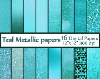 "Teal Digital Paper: ""TEAL FOIL PAPERS"" Metallic Foil Paper Teal scrapbook paper Teal background Turquoise foil paper Metallic Textures"