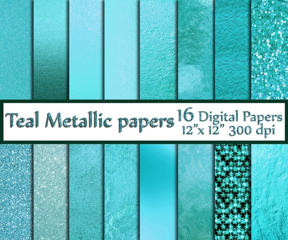 Teal Digital Paper Teal Foil Papers Metallic Foil Paper Teal