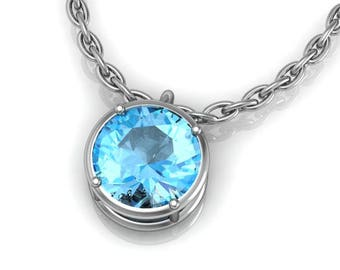 """14kt Gold And Genuine Topaz Solitaire Pendant On 18"""" Cable Chain Rose, White, Or Yellow Gold Swiss Blue, Pink, Or White Topaz"""