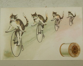 J&P Coats ~ Cats On Bicycles Trade Card ~ Victorian Tradecard Ephemera ~ Thread Advertising