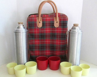 Thermos Bottle Complete Set Plaid Carrying Case Vintage Summer Picnic