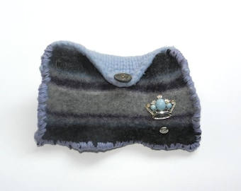 Hand Knit Grey Blue Purple  Felt Envelope Clutch - Queen For a Day