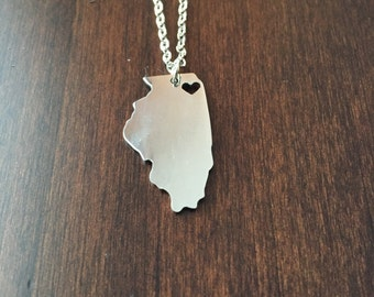 Illinois Necklace, Illinois, silver Illinois necklace, Illinois state necklace, state necklace, state of Illinois, necklace, silver necklace