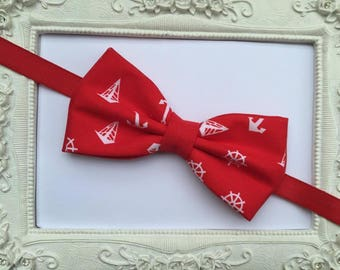 Bow tie Double Red and white fabric printed anchors - man