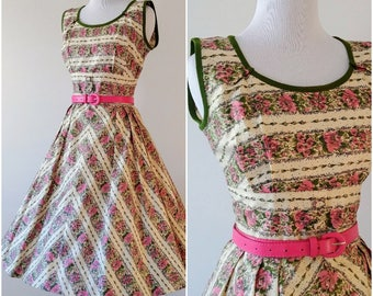 Vintage 1950's Pink and Green Floral Fit and Flare Dress   Vintage 1950's Day Dress  