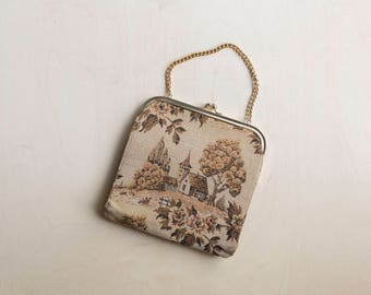 vintage large tapestry clutch