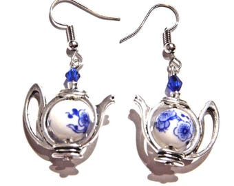 Silver Blue & White Porcelain Tea Pot Earrings 5B