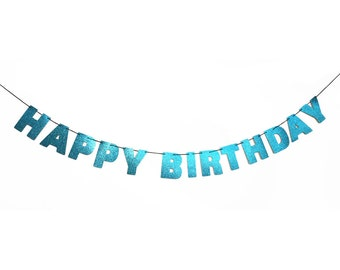 HAPPY BIRTHDAY Banner Wall Hanging - Party Decorations - Birthday Decor - Customizable Glitter Banner