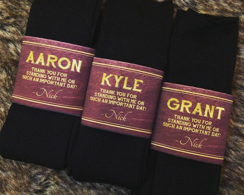 The Original Groomsman Best Man Usher Gift Socks Label