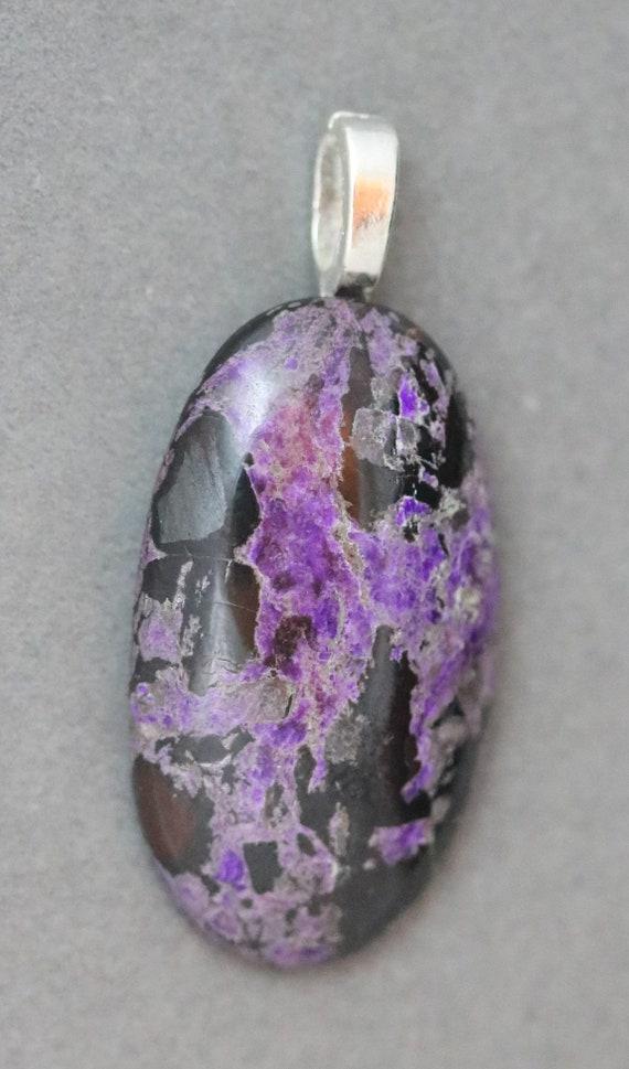 Sugilite pendant, lavender black, glue-on bail 39ct