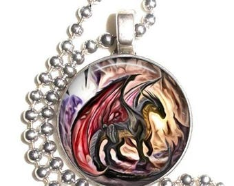 Red Dragon in a Cave Altered Art Photo Pendant, Earrings and/or Keychain Round, Silver and Resin Charm Jewelry