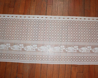 "Vintage Lace Curtain with Houses 63"" x 20"""