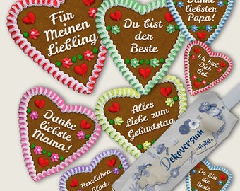 Gingerbread Oktoberfest Hearts • Clipart • For Birthdays Mother's Day Father's Day Calendars Photoalbums Scrapbooking Cards Jewely