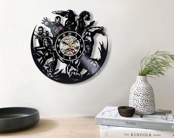 Avengers Wall Decor, Vinyl Record Wall Clock, Avengers Fan Art, Wall Decor,