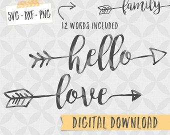 Words with Arrows / Arrow Words - SVG DXF PNG Digital files - Vector Cut Files - Two arrow styles, digital files with arrows, farmhouse svg