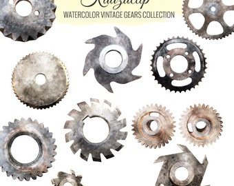 Watercolor Vintage Gears Collection