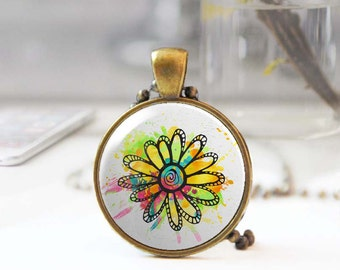 Floral pendant, Long Boho necklace, Colorful flower necklace, Round pendant necklace, Bohemian jewelry for women, 5093-4, Mother's day gift