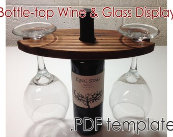 Instant Download: Printable PDF template / pattern for Wine Bottle and Glass Display