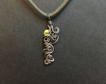 Serpentine Copper Wrapped Pendant Necklace