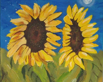 Original Painting  - Floral Painting -  Two Sunflowers - 12 x 12 inches