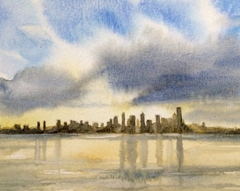 Seattle painting, Seattle skyline, Seattle watercolor, Seattle art, Skyline, Seattle sunrise, Elliot bay, Puget Sound, Cityscape
