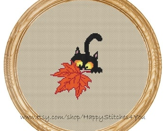Cross Stitch Pattern PDF cat with maple leaf DD0186