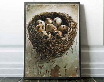 Bird Nest, Art Print, Kitchen Art, Poster Print, Farmhouse Decor, 18 x 24, Art Print, Bedroom Art, Bird Art, Nest, Nests, Birds Nest