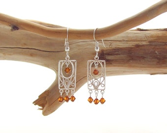 Rectangular Chandelier Earrings - Topaz