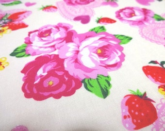 SALE Japanese Fabric Flower Rose Heart Strawberry Ivory Fat Quarter