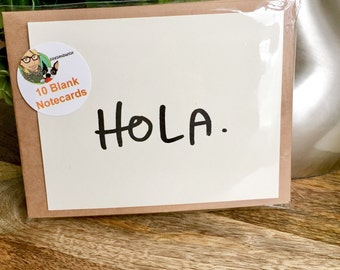 Set of 10 Blank Notecards, Hola Card, Hand Lettered Thank You Card Set, blank Note Card Set, hand lettered hello Cards