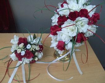 SUGAR PLUM. Matching Posy Set  Hand Wired     Tear drop  Silk flower,  med.  Bouquet  SET.