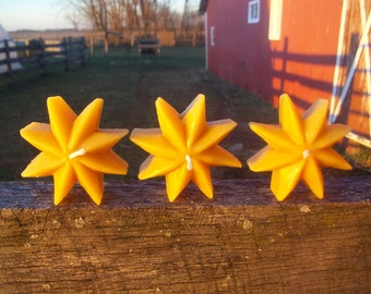 Beeswax Candles-  Set of three rustic floating stars