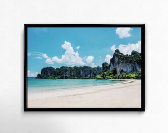 Thailand Beach Print, Tropical Coast Art, Nature Photography, Landscape Photo, Blue Sky Poster, Digital Download