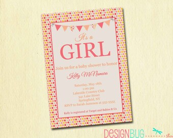 Baby Girl Shower Invitation - Pink and Orange Dots with Bunting - It's a Girl invite - digital, printable file