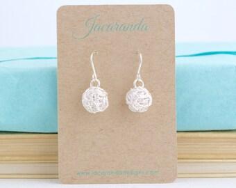 Gift For Mom - Ball of Yarn Earrings, Gift for Knitter, Sterling Silver, Knitting Earrings, Sterling Silver Yarn Earrings, Ball of Wool